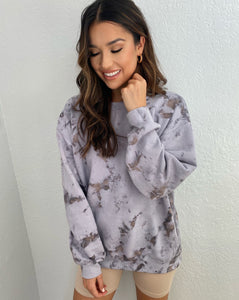 Marble Grey Washed Oversized Sweater