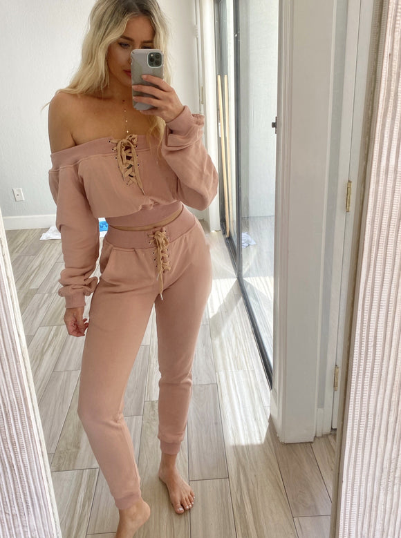 Nude Off Shoulder Jogger Set