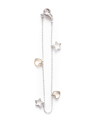 Two Tone Heart and Star Bracelet