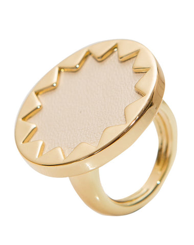 Adjustable Cream Mini Pave Sunburst Ring