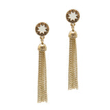 Cream Sunburst Tassel Earrings