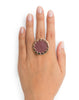 Adjustable Cranberry Mini Pave Sunburst Ring