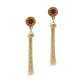 Cranberry Sunburst Tassel Earrings