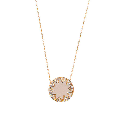 Cream Mini Pave Sunburst Necklace