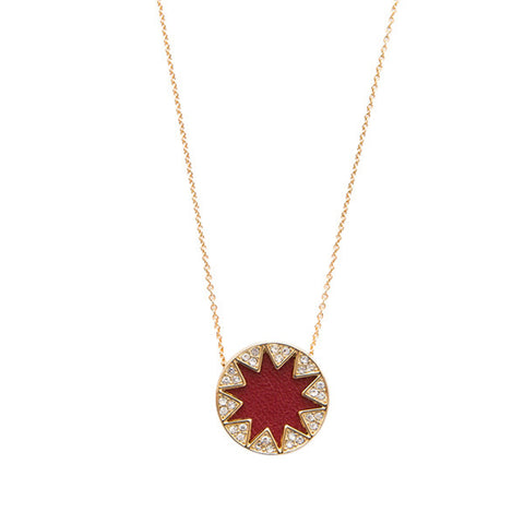 Cranberry Mini Pave Sunburst Necklace