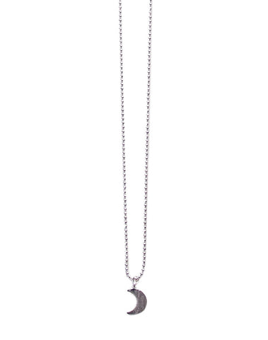 Silver Matte Moon Necklace