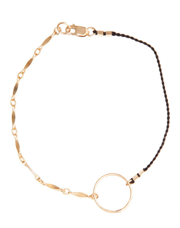 Cord open circle and chain bracelet
