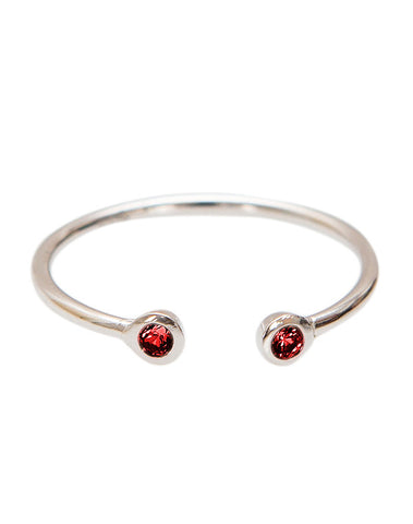 Silver Fine Ring with Ruby Bezel