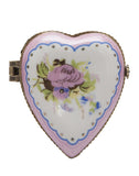 Pink Rose Heart Limoge Trinket Box