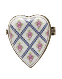 Crosshatch Rose Heart Limoge Trinket Box