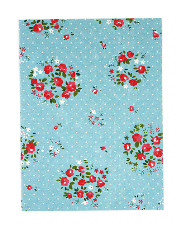 Large Floral Pale Blue White Polkadot Print Chelsea Notebook