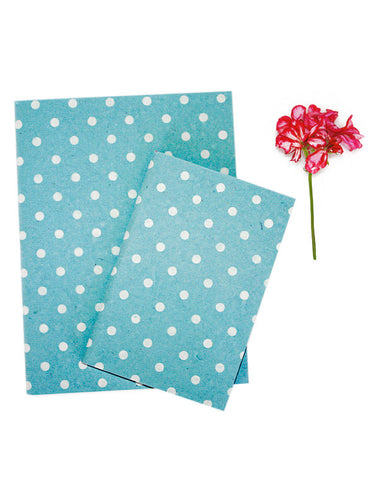Pale Blue White Polkadot Print Chelsea Notebook Set