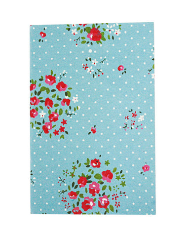 Small Floral Pale Blue White Polkadot Print Chelsea Notebook