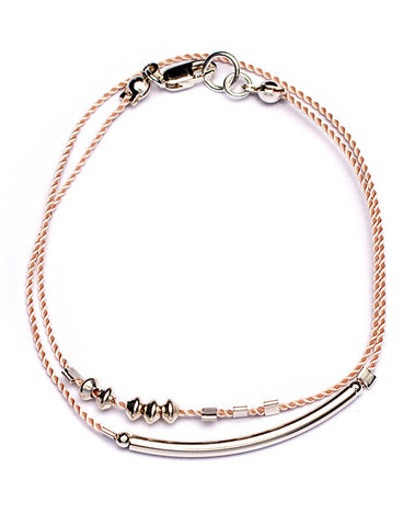 Pink and Silver Double Cord Tube Bracelet