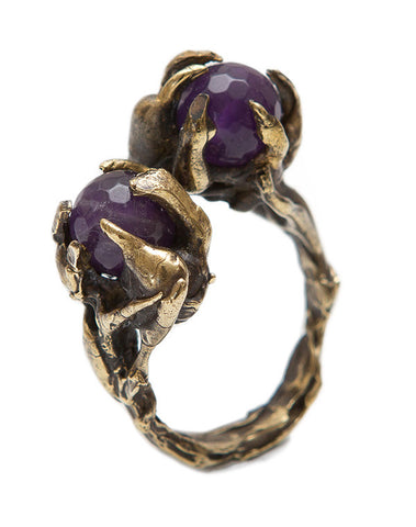 Amethyst Petrichor brass ring