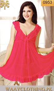 WANT-0074 - 0953-PINK - SLEEVELESS SHORT NIGHTY IMPORTED NET MATERIAL