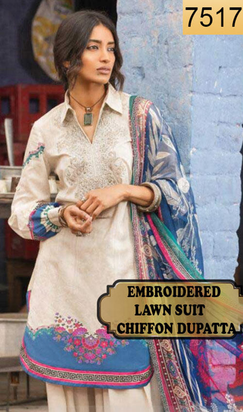 WYMM-7517 - NECK EMBROIDERED DESIGNER 3PC LAWN SUIT WITH CHIFFON DUPATTA - SUMMER COLLECTION 2019 / 2020