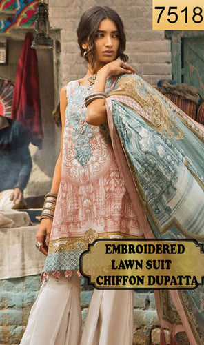 WYMM-7518 - NECK EMBROIDERED DESIGNER 3PC LAWN SUIT WITH CHIFFON DUPATTA - SUMMER COLLECTION 2019 / 2020