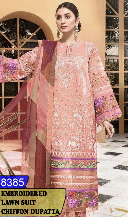 WYBA-8385 - NECK EMBROIDERED DESIGNER 3PC LAWN SUIT WITH CHIFFON DUPATTA - SUMMER COLLECTION 2020 / 2021