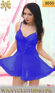 WANT-0079 - 8650-BLUE - SLEEVELESS SHORT NIGHTY IMPORTED NET MATERIAL