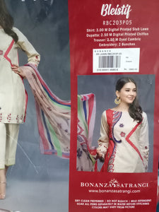 WOBS-0185 - ORIGINAL BONANZA SATRANGI UNSTITCHED LAWN 3PCS EMBROIDERED SUIT