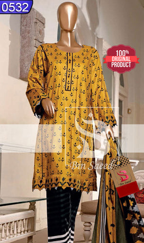 WOBN-0532 - ORIGINAL BIN SAEED UNSTITCHED CAMBRIC 3PCS PRINTED SUIT