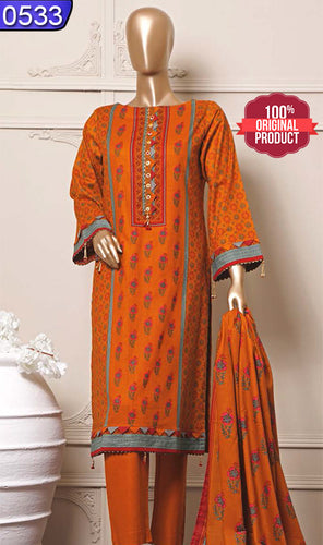 WOBN-0533 - ORIGINAL BIN SAEED UNSTITCHED CAMBRIC 3PCS PRINTED SUIT