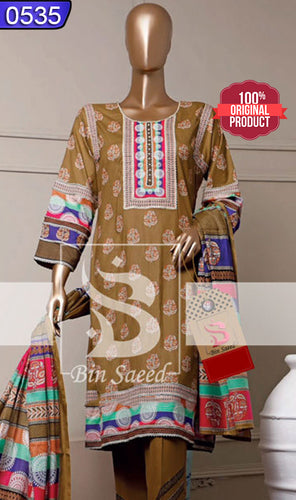 WOBN-0535 - ORIGINAL BIN SAEED UNSTITCHED CAMBRIC 3PCS PRINTED SUIT
