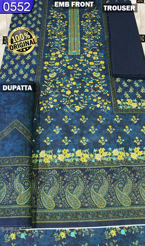 WOBN-0552 - ORIGINAL BIN SAEED UNSTITCHED KHADDAR 3PCS EMBROIDERED SUIT
