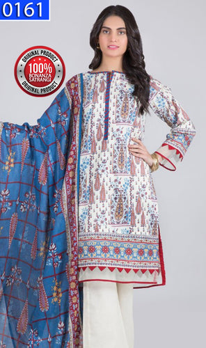 WOBS-0161 - ORIGINAL BONANZA SATRANGI UNSTITCHED LAWN 3PCS PRINTED SUIT