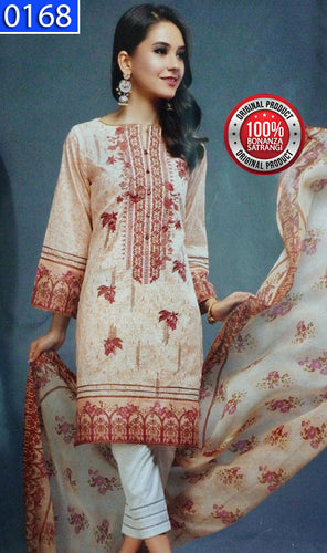 WOBS-0168 - ORIGINAL BONANZA SATRANGI UNSTITCHED LAWN 3PCS EMBROIDERED SUIT