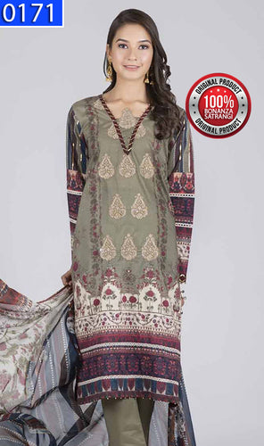 WOBS-0171 - ORIGINAL BONANZA SATRANGI UNSTITCHED LAWN 3PCS EMBROIDERED SUIT