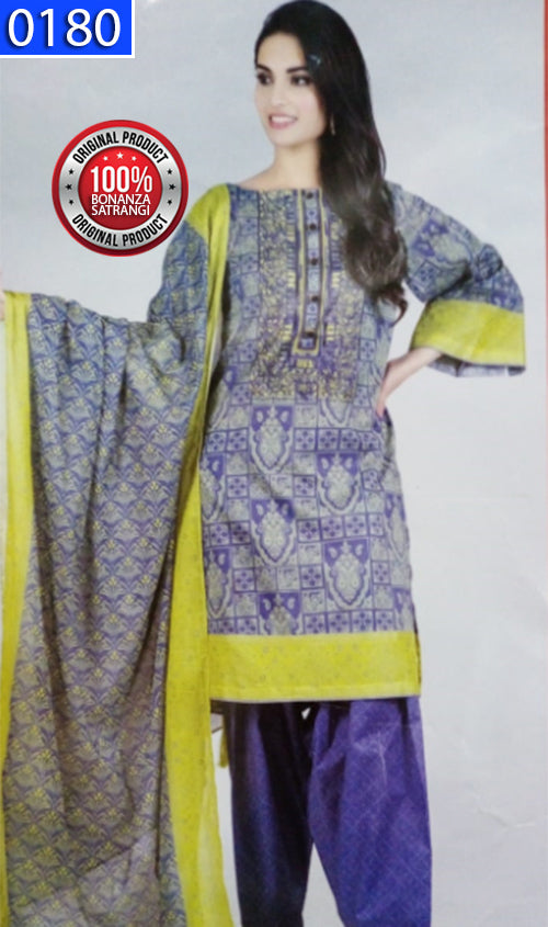 WOBS-0180 - ORIGINAL BONANZA SATRANGI UNSTITCHED LAWN 3PCS EMBROIDERED SUIT