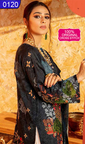 WOCS-0120 - ORIGINAL CROSS STITCH UNSTITCHED LAWN 2PCS PRINTED SUIT