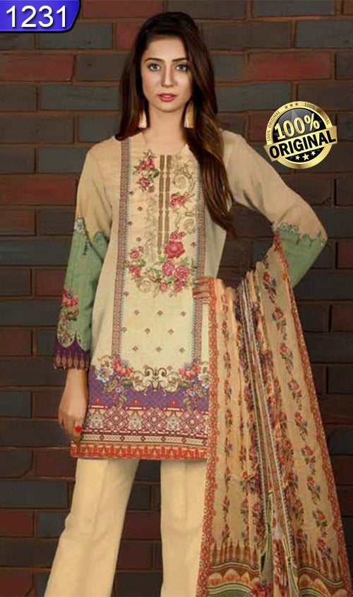 WOFM-1231 - ORIGINAL FIZA MINAHIL UNSTITCHED KARAIB 3PCS EMBROIDERED SUIT - ARTICLE NO-966