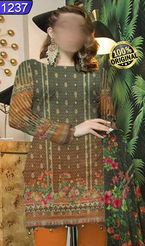 WOFM-1237 - ORIGINAL FIZA MINAHIL UNSTITCHED BROSHA LINEN 3PCS PRINTED SUIT - ARTICLE NO-972