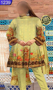 WOFM-1239 - ORIGINAL FIZA MINAHIL UNSTITCHED BROSHA LINEN 3PCS PRINTED SUIT - ARTICLE NO-974