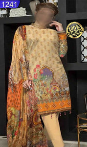 WOFM-1241 - ORIGINAL FIZA MINAHIL UNSTITCHED BROSHA LINEN 3PCS PRINTED SUIT - ARTICLE NO-976