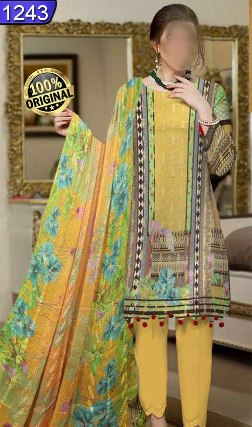 WOFM-1243 - ORIGINAL FIZA MINAHIL UNSTITCHED BROSHA LINEN 3PCS PRINTED SUIT - ARTICLE NO-978