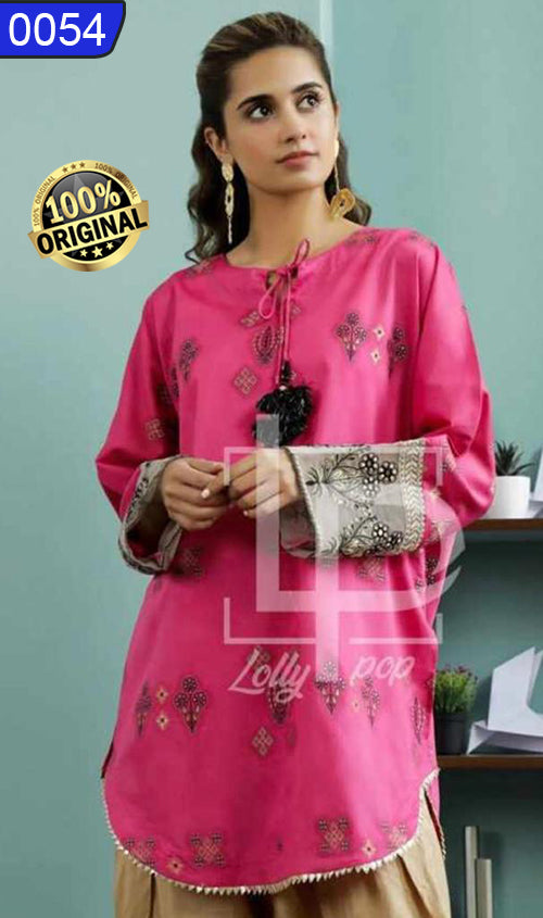 WOLP-0054 - ORIGINAL LOLLYPOP STITCHED LAWN EMBROIDERED KURTI - READY TO WEAR