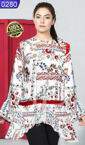 WOLP-0280 - ORIGINAL LOLLYPOP STITCHED LINEN PRINTED KURTI - READY TO WEAR