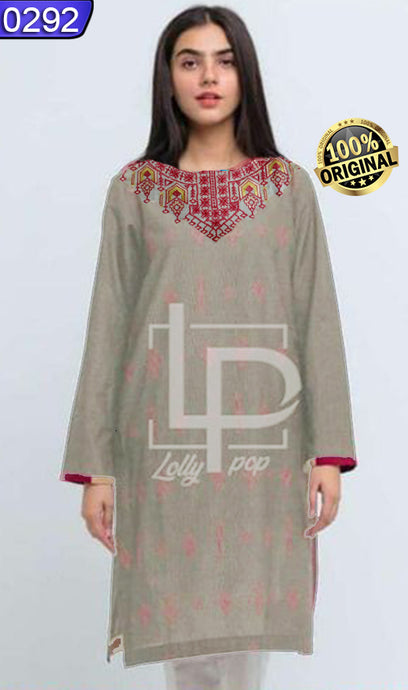 WOLP-0292 - ORIGINAL LOLLYPOP STITCHED COTTON EMBROIDERED KURTI - READY TO WEAR