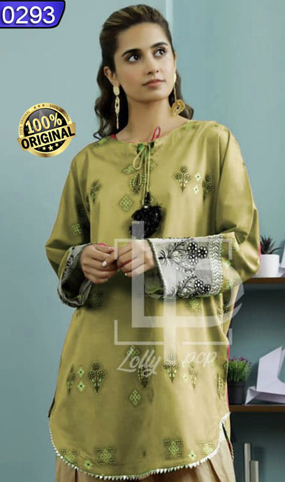 WOLP-0293 - ORIGINAL LOLLYPOP STITCHED COTTON EMBROIDERED KURTI - READY TO WEAR