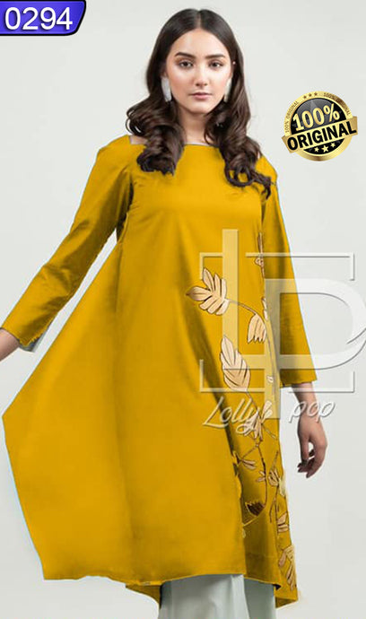 WOLP-0294 - ORIGINAL LOLLYPOP STITCHED LINEN EMBROIDERED KURTI - READY TO WEAR
