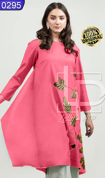 WOLP-0295 - ORIGINAL LOLLYPOP STITCHED LINEN EMBROIDERED KURTI - READY TO WEAR
