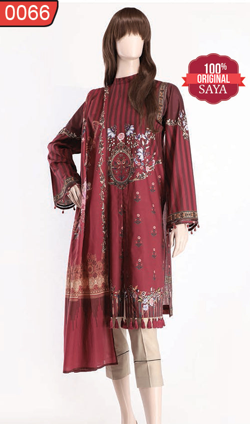 WOSY-0066 - ORIGINAL SAYA UNSTITCHED LAWN 2PCS PRINTED SUIT
