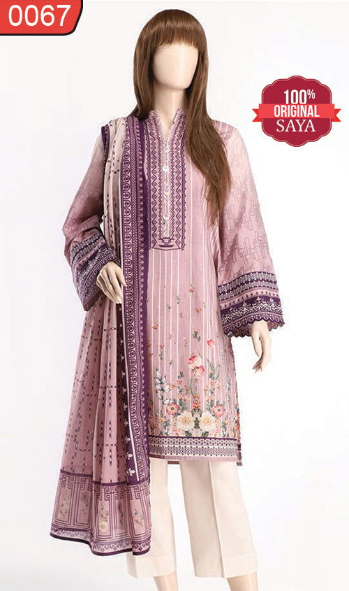 WOSY-0067 - ORIGINAL SAYA UNSTITCHED LAWN 2PCS PRINTED SUIT