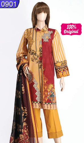 WOSY-0901 - ORIGINAL SAYA UNSTITCHED CAMBRIC 3PCS PRINTED SUIT