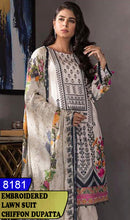 Load image into Gallery viewer, WYAJ-8181 - NECK EMBROIDERED DESIGNER 3PC LAWN SUIT WITH CHIFFON DUPATTA - SUMMER COLLECTION 2020 / 2021