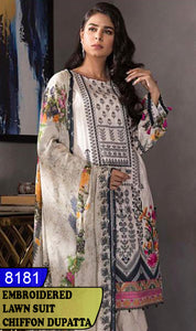 WYAJ-8181 - NECK EMBROIDERED DESIGNER 3PC LAWN SUIT WITH CHIFFON DUPATTA - SUMMER COLLECTION 2020 / 2021